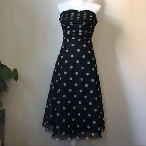 BCBGMaxAzria Strapless Polka Dot Black Tulle Dress